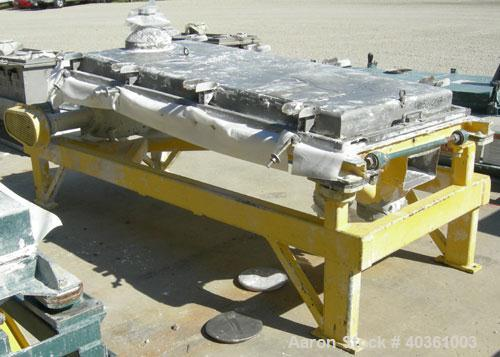 "Used: Rotex screener, model 431SAN-SS-SS, 304 stainless steel. 40"" wide x 84"" long single deck, 2 separation. Clamp down top..."