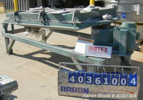 "Used: Rotex screener, model 321, carbon steel. 40"" wide x 84"" long single deck, 2 separation. Clamp down top cover, 2 bottom..."
