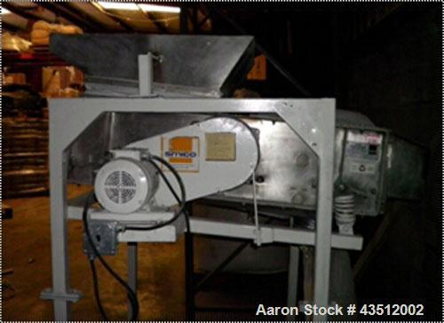 """Used-Simco Model 364-ID-VDC3, 2' wide x 4' long single deck screener, screen deck opening approximately 1/8"""", stainless stee..."""