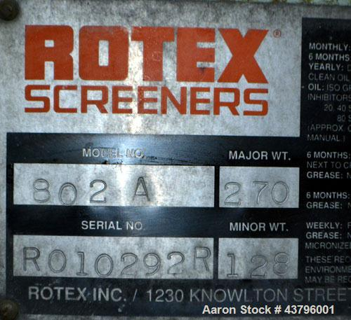 "Used- Rotex Screener, Model 802A, Carbon Steel. 40"" Wide x 84"" long double deck, 3 separation. 23.3 Square feet screen area,..."