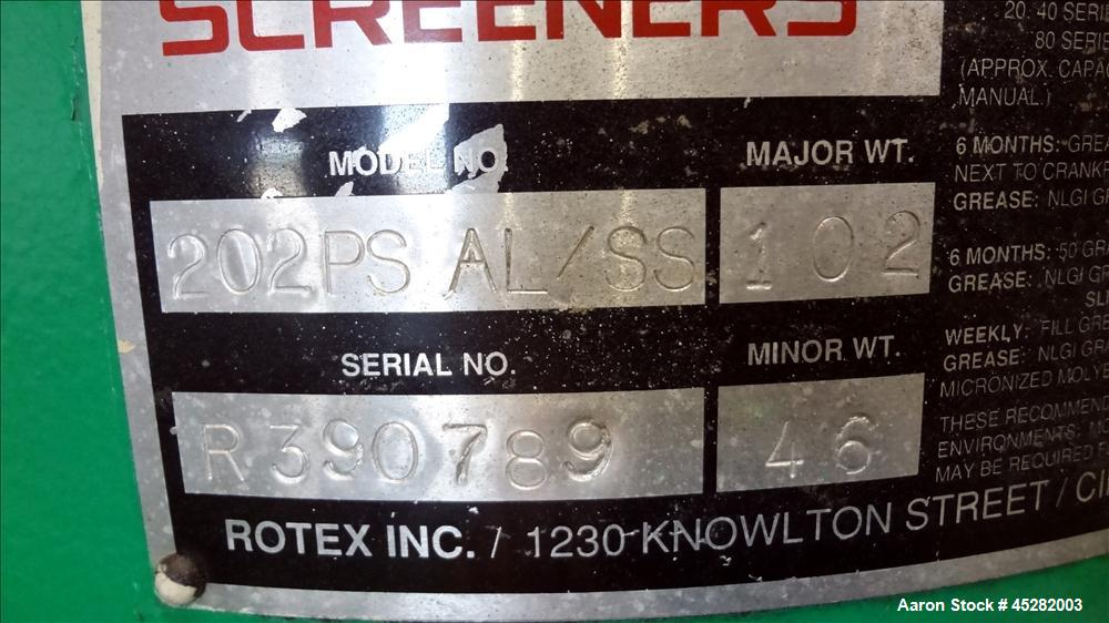 Used- Rotex Screener, Model 202PS AL/SS.