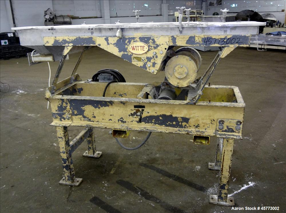 "Used- Witte Screener, 304 Stainless Steel. Single Deck, 2 separation. Approximately 16"" wide x 31"" long screen section. Driv..."