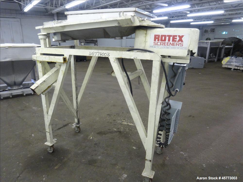 "Used- Rotex Screener, Model 111PS AL/SS. 316 Stainless Steel. Single deck, 2 separation. Approximate 21"" x 36 screen section..."