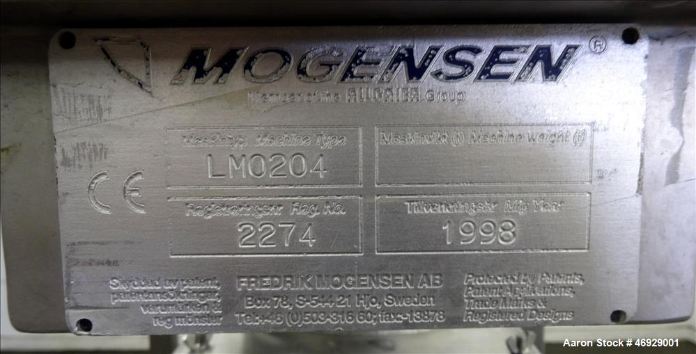 Used- Mogensen Flow Through Screener / Sizer, Model S-0254.