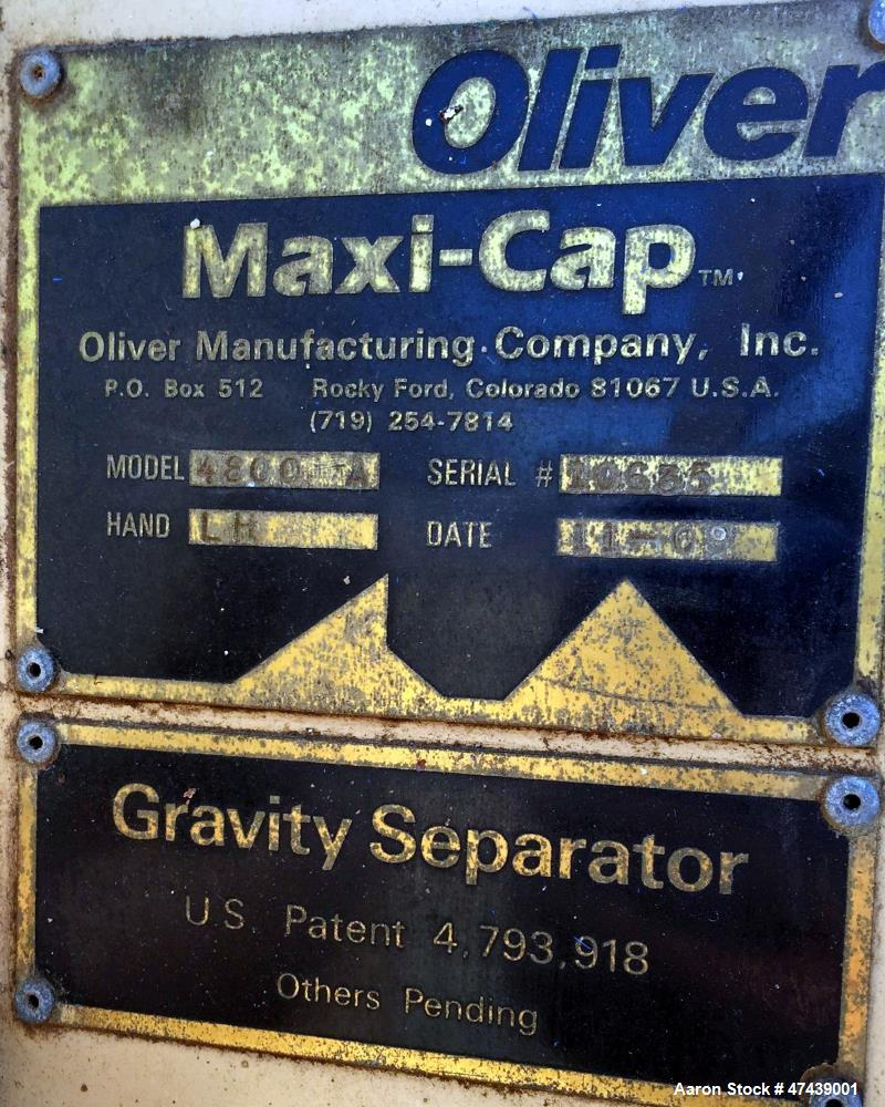 Used- Oliver Maxi-Cap Gravity Separator, Model 4800A, Type: LH