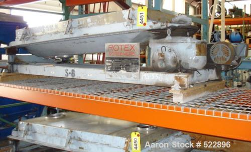"USED: 30"" x 60"" Rotex model 201PS-SS/SS pellet screener, 12.5 squarefeet. Weights are 86 lbs and 33 lbs. 1.5 hp, 230/460 vol..."