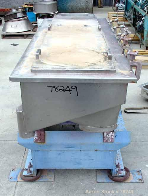 "Used- Witte Shaker, Model 9E-333. 23"" Wide x 64-1/2"" long x  7"" deep, stainless steel. Top opening 16"" long x 8"" wide oval. ..."