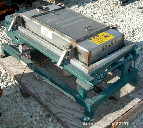 "USED: Rotex screener, model 111 PS SS/SS, 21"" x 36"". 5.2 square foot screening capacity, stainless steel screen, top cover, ..."