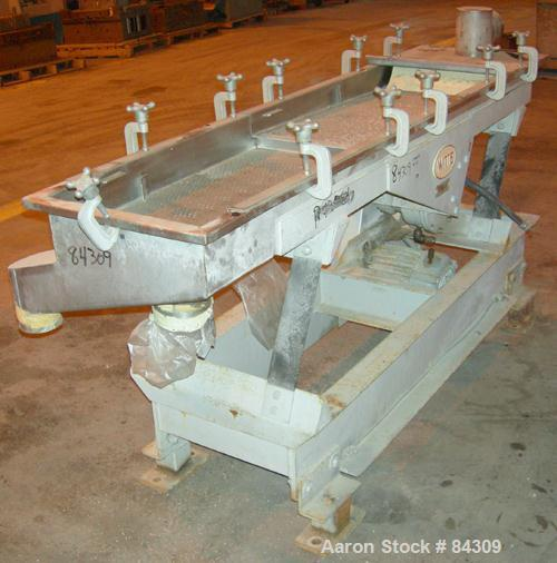 "USED: Witte screener, 304 stainless steel, single deck, 2 separation. 16"" wide x approximately 72"" long, 1/4"" diameter holes..."