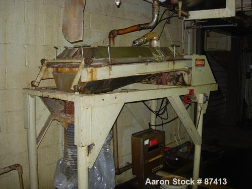 """USED: Rotex type sifter, stainless steel, 20"""" wide x 50"""" long, single deck. Approximate 5 hp motor."""