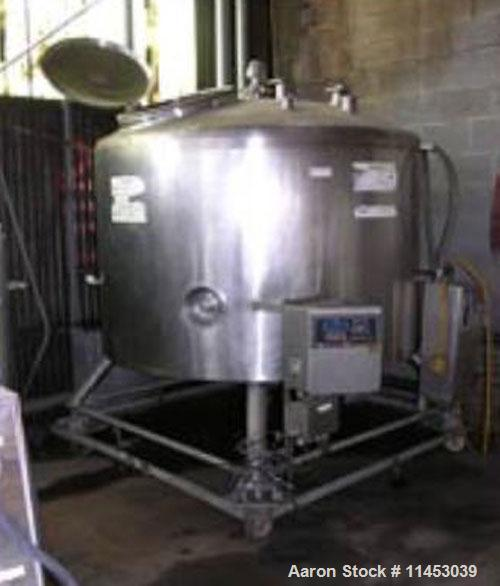 "Used-DCI mix tank, 500 gallon, stainless steel construction. 66"" diameter x 36"" straight side, dished top, cone bottom, top ..."