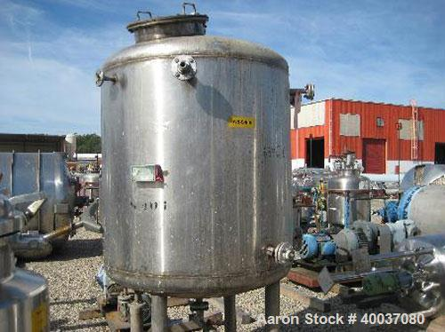 Used- P.X. Engineering Pressure Tank, 400 Gallon, 304 Stainless Steel, Vertical. 48'' diameter x 48'' straight side, dished ...