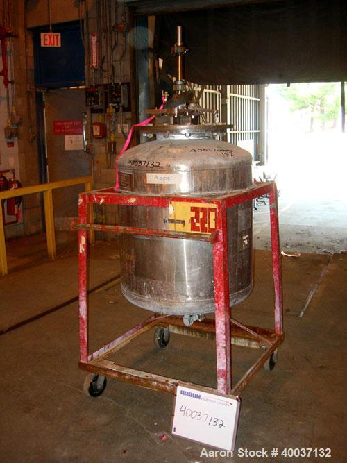 "Used-Used: Buckley Iron Works pressure tank, 100 gallon, stainless steel, vertical. 30"" diameter x 30"" straight side, dished..."