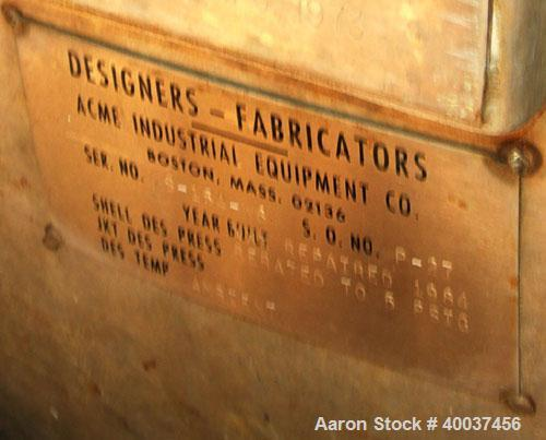 "Used- Designers Fabricators tank, 80 gallon, stainless steel, vertical. 20"" diameter x 56"" straight side, slight dished bolt..."
