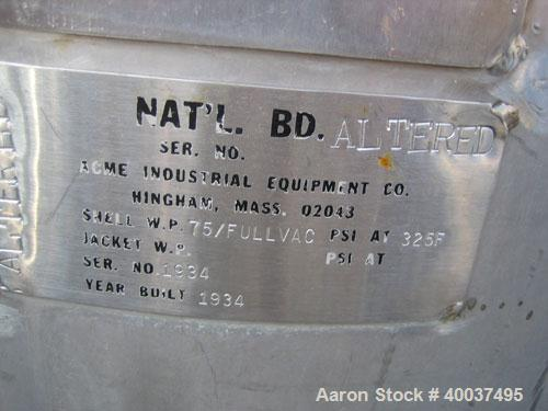Used- 50 Gallon Stainless Steel Perry Products Pressure Tank