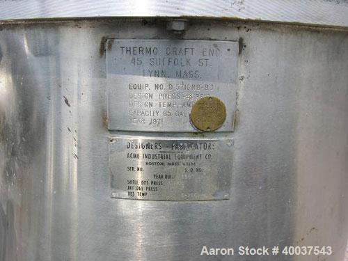 "Used- Thermo Craft Tank, 65 gallon, stainless steel, vertical. 26"" diameter x 33"" straight side, open top with a 2 piece cov..."