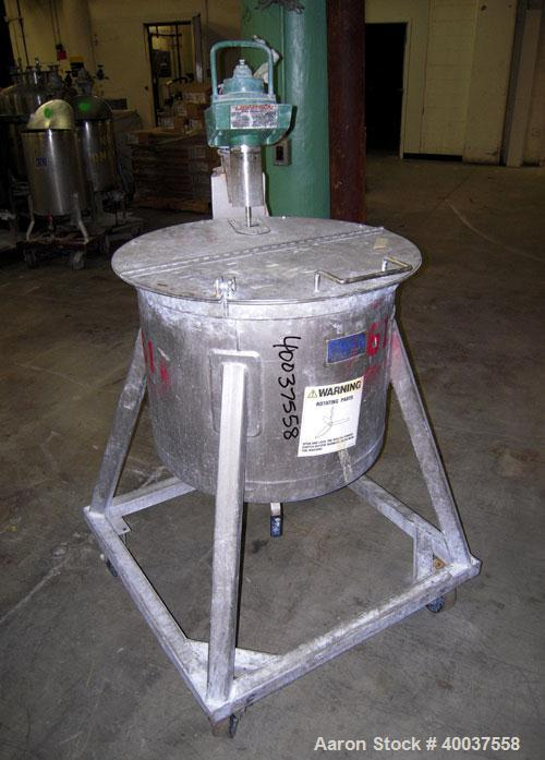 "Used- Douglas Brothers Tank, 40 gallon, stainless steel, vertical. 24"" diameter x 18"" straight side. Open top with a 1/2 hin..."