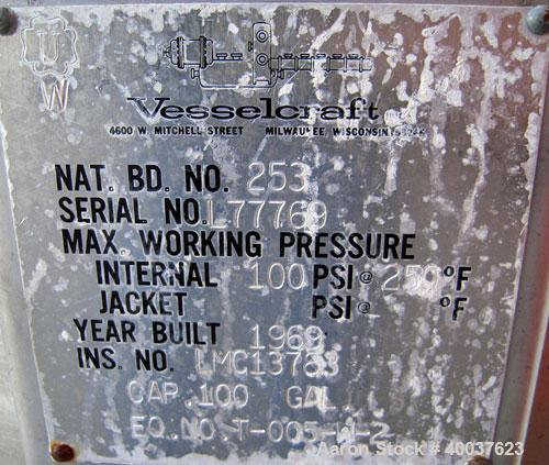 "Used- Vesselcraft pressure tank, 100 gallon, stainless steel, vertical. 36"" diameter x 20"" straight side, dished top and bot..."