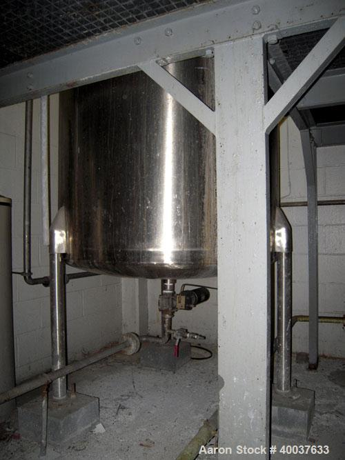 "Used- Ertel Tank, 300 Gallon, Stainless steel, Vertical. 44"" diameter x 48"" straight side, slight dished top, dished bottom...."
