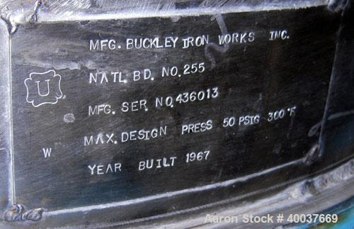 Used- Buckley Iron Works Pressure Tank, 100 gallon, stainless steel, vertical. 30'' diameter x 28'' straight side, dished to...