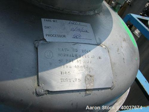 "Used- Norwalk Pressure Tank, 50 Gallon, Stainless Steel, Vertical. Approximately 24"" diameter x 24"" straight side, dished to..."