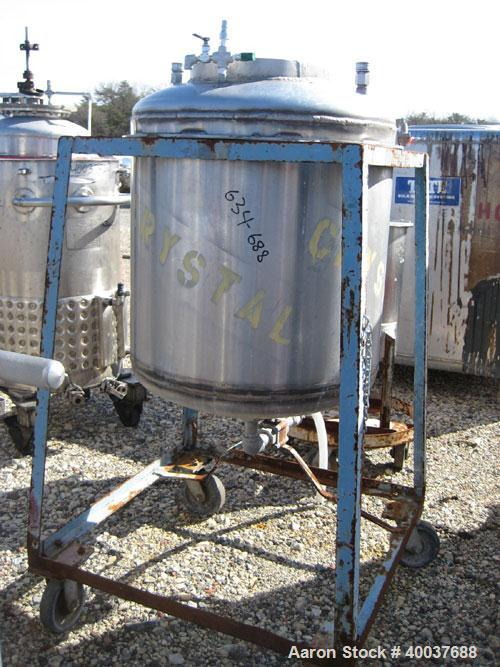 Used- Allcraft Pressure Tank, 50 Gallon, Stainless steel, Vertical. 24'' diameter x 24'' straight side, dished top and botto...