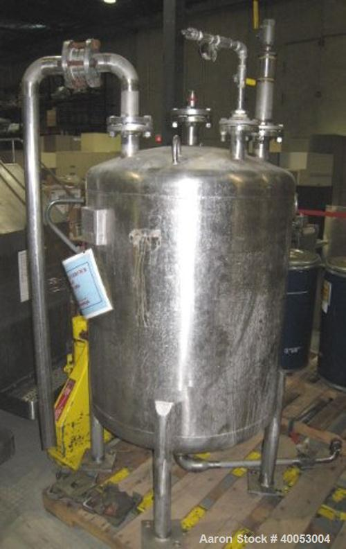 "Used: Four Corp Approximately 100 Gallon, 316L Stainless Steel, Vertical.  30"" diameter x 32"" straight side.  Dish top and b..."