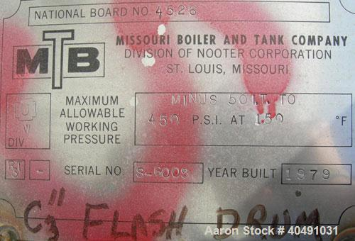 "Used-Missouri Boiler Pressure Tank, 15 gallon, 304 stainless steel, vertical. Approximately 8"" diameter x 46"" straight side...."
