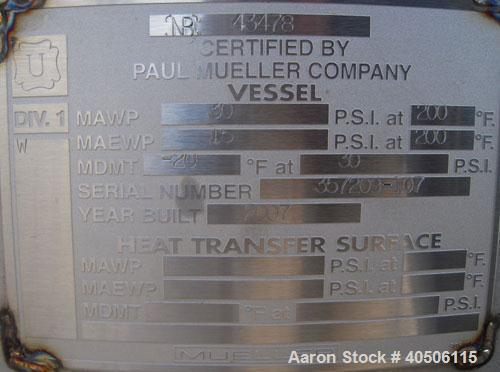 "Unused- Mueller Pressure Tank, 350 Gallon, Model ""F"", 304L Stainless steel, Vertical. 48"" diameter 40"" straight side, dished..."