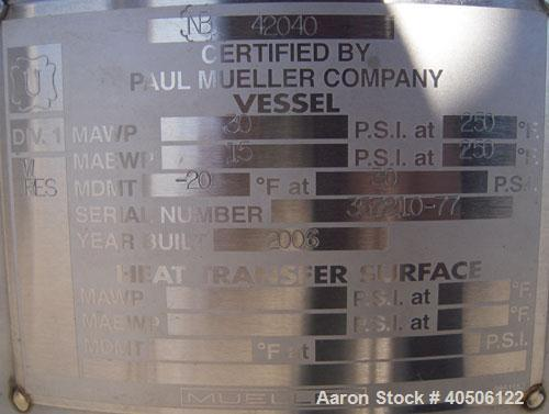 "Unused- Mueller Pressure Tank, 50 Gallon, Model ""F"", 304L stainless steel, vertical. 17 1/2"" diameter, 68"" straight side, di..."