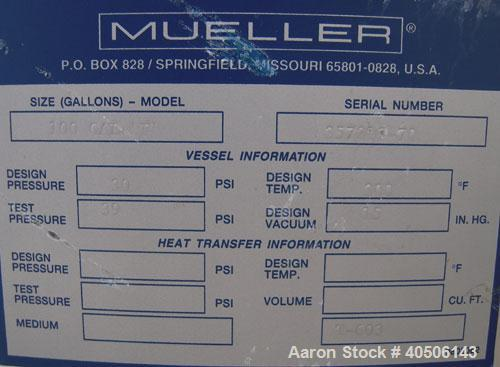 "Unused- Mueller Pressure Tank, 100 Gallon, Model ""F"", 304L Stainless steel, Vertical. 36"" diameter 30"" straight side, dished..."