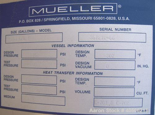 "Unused- Mueller Pressure Tank, 263 Gallon, model ""F"", 304L stainless steel, vertical. 24"" diameter x 138"" straight side, dis..."