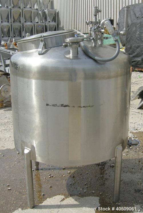 "Used- Walker Tank, 100 Gallon, 316L Stainless Steel, Vertical. 36"" diameter x 27"" straight side, dished top, sloped bottom. ..."