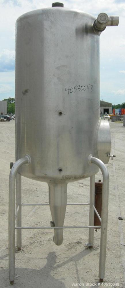"Used- Creamery Package Tank, 250 gallon, 304 stainless steel, vertical. Approximately 36"" diameter x 53"" straight side, dish..."