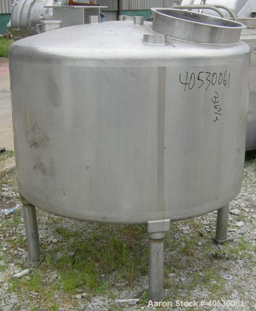 "Used- Tank, 300 Gallon, 316 Stainless Steel, Vertical. Approximately 52"" diameter x 30"" straight side, dished top and bottom..."
