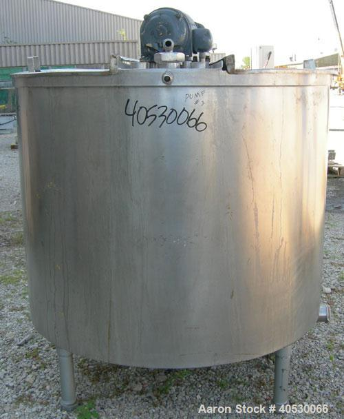 "Used- Tank, 425 gallon, 316 stainless steel, vertical. Approximately 54"" diameter x 44"" straight side. Open top with (2) 1/3..."