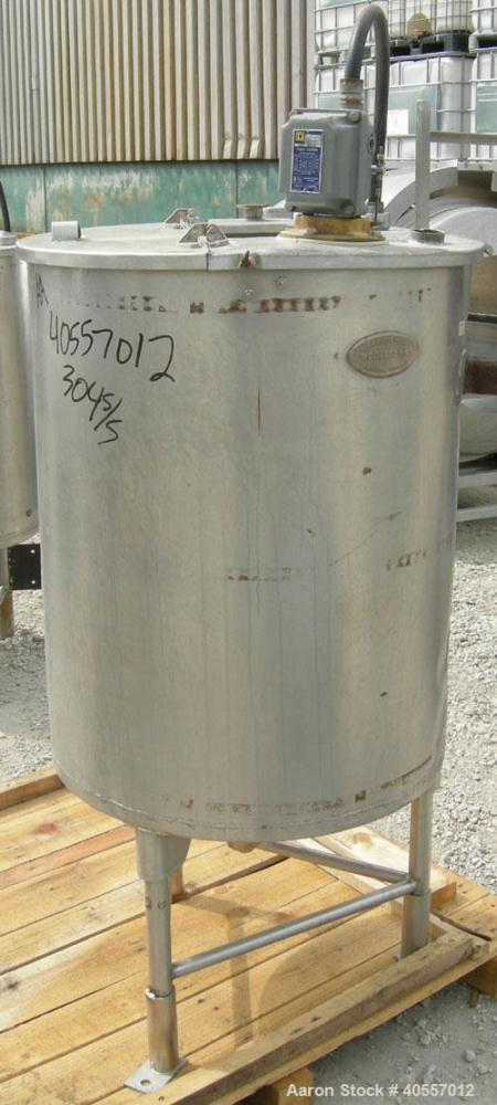 "Used- Coulter tank, 75 gallon, 304 stainless steel, vertical. 26"" diameter x 32"" straight side, open top a 1 piece 1/3 hinge..."