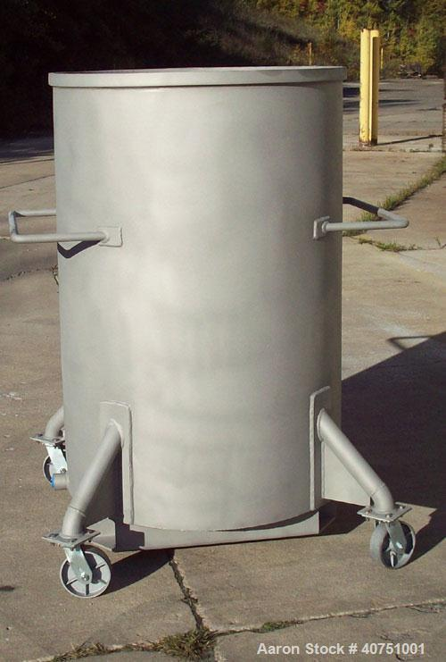 "Unused-240 Gallon Type 304L Stainless Steel Tank. 36"" inside diameter x 54"" deep. Open top with cover. Flat bottom. On caste..."