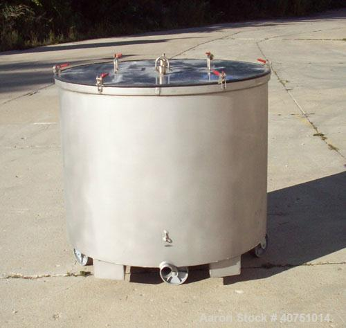 "Unused-245 gallon type 304L stainless steel tank. 45"" inside diameter x 36"" deep. Open top with cover. Flat bottom. On caste..."