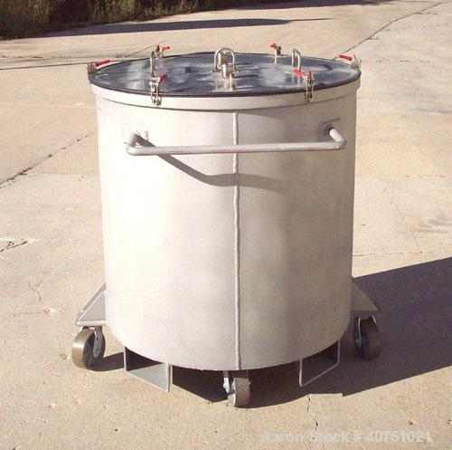 "Unused-157 gallon type 304L stainless steel tank. 36"" inside diameter x 36"" deep. Open top with cover. Flat bottom. On caste..."