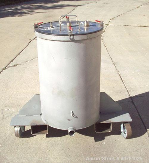 "Unused-55 gallon type 304L stainless steel tank. 22"" inside diameter x 34"" deep. Open top with cover. Flat bottom. On caster..."