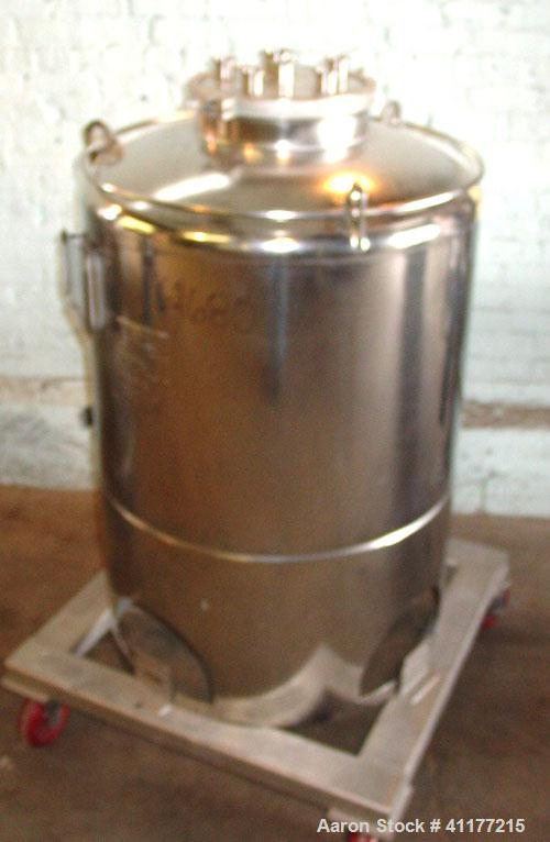 "Used- DCI Pressure Tank, 300 Liter (79 Gallon), 316L stainless steel, vertical. 29-3/4"" diameter x 24"" straight side, dished..."