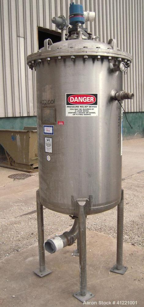 "Used- Stainless Fabrication Tank, 150 gallon, 316L stainless steel, vertical. 30"" diameter x 48"" straight side. Bolt on dish..."