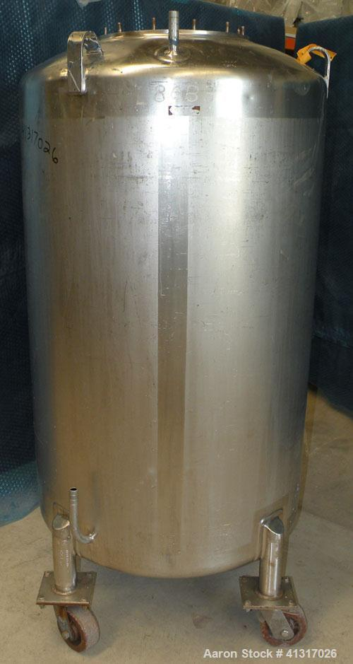 "Used- DCI Pressure Tank, 150 Gallon, 316L Stainless Steel, Vertical. 30"" diameter x 44"" straight side. Dish top and bottom. ..."