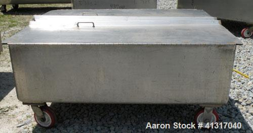 "Used- Walker Stainless Tank, 120 Gallon, Model SP-7144, 316L Stainless Steel. 50"" long x 40"" wide x 15"" deep. 2 piece hinged..."