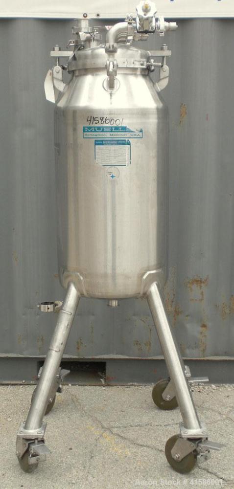 "Used- Mueller Pressure Tank, 26 gallon (100 liter), model F, 316 stainless steel, vertical. 18"" diameter x 27"" straight side..."
