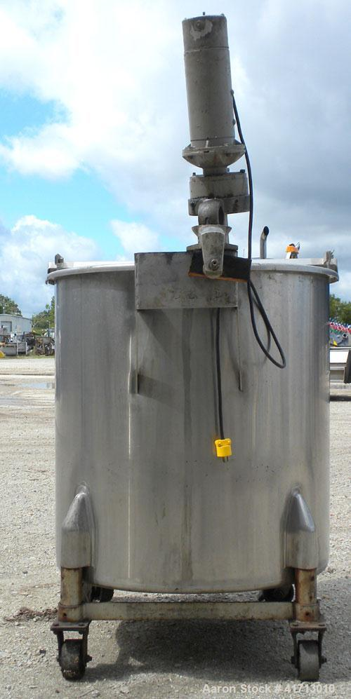 "Used- Tank, Approximate 140 Gallon, 316 Stainless Steel, Vertical.  34"" diameter  x 36"" straight side, flat top with hinged ..."