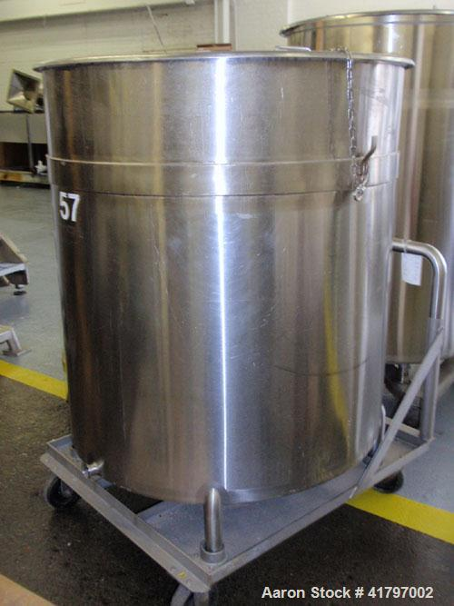 "Used- Tank, 300 Gallon, Stainless Steel, Vertical. 44""diameter x 46"" staight side, open top with cover, flat bottom. 1-1/2"" ..."