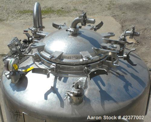 "Used- DCI Pressure Tank, 184 Gallon, 316L stainless steel, vertical. 41-3/4"" Diameter x 26"" straight side, dish top and bott..."
