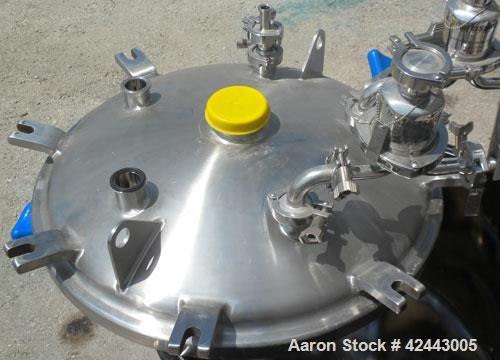 Used- Precision Stainless Pressure Tank, 79 gallon (300 liter), 316L stainless steel, vertical. 24'' Diameter x 36'' straigh...